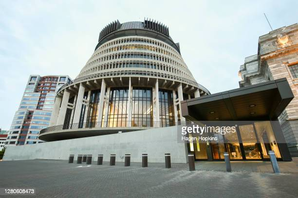 General view of The Beehive during election day on October 17, 2020 in Wellington, New Zealand. Voters head to the polls today to elect the 53rd...