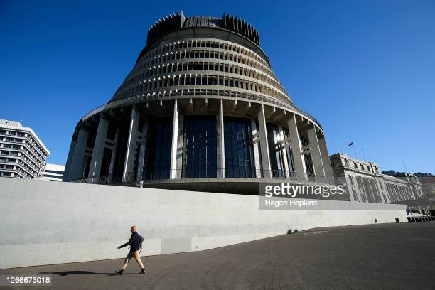 General view of the Beehive on August 17, 2020 in Wellington, New Zealand. Prime Minister Jacinda Ardern announced today that New Zealand's General...