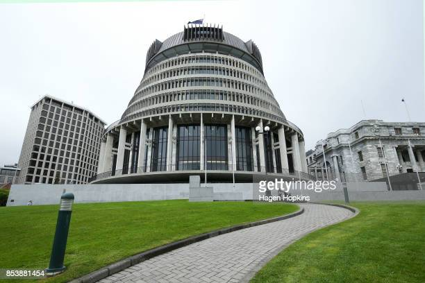 General view of the Beehive on September 26, 2017 in Wellington, New Zealand. With results too close to call, no outright winner between National's...