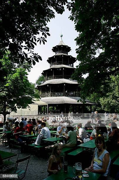 A general view of the beer garden Chinesischer Turm in the English Garden on August 20 2005 in Munich Germany Munich is one of the host cities that...