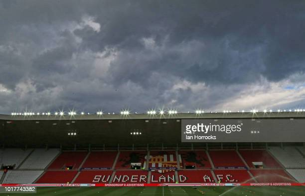 Luke O'Nien of Sunderland has his shot blocked during the Carabao Cup First Round match between Sunderland and Sheffield Wednesday at Stadium of...