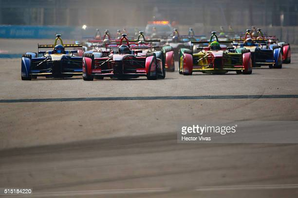 General view of the beginning of the race during the Mexico City Formula E Championship 2016 at Autodromo Hermanos Rodriguez on March12, 2016 in...