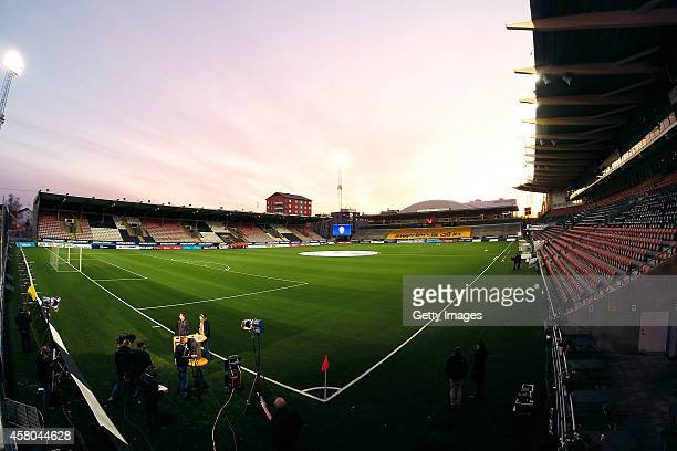 A general view of the Behrn Arena prior the Women's international friendly between Sweden and Germany at Behrn Arena on October 29 2014 in Orebro...