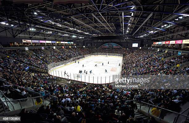 General view of the Belfast Giants game against the Nottingham Panthers in the UK Elite League at the game at the Odyssey Arena , Belfast, Northern...