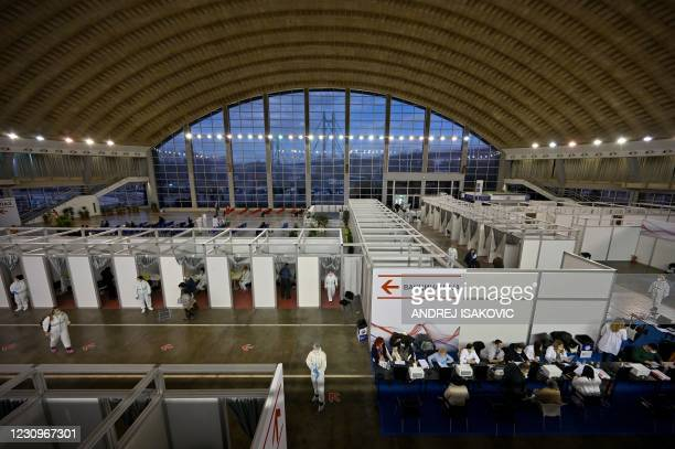 General view of the Belgrade Fair turned into a vaccination centre as people arrive to receive a dose of Chinese-made Sinopharm Covid-19 vaccine in...