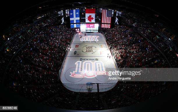 A general view of the Bell Centre as the Montreal Canadiens launch their 100th season prior to the home opener against the Boston Bruins at the Bell...