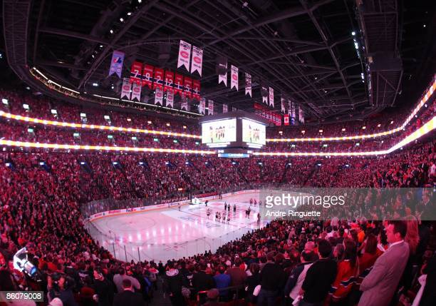 General view of the Bell Centre during the singing of the national anthems prior to Game Three of the Eastern Conference Quarterfinal Round of the...