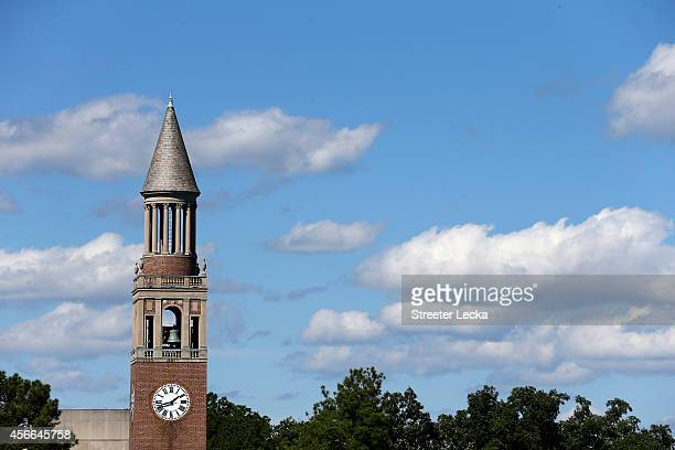 General view of the Bell Tower on the campus of the North Carolina Tar Heels before their game against the Virginia Tech Hokies at Kenan Stadium on...