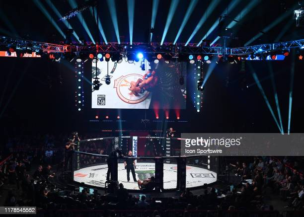 A general view of the Bellator MMA cage during the event on October 26 2019 at the Mohegan Sun Arena in Uncasville Connecticut