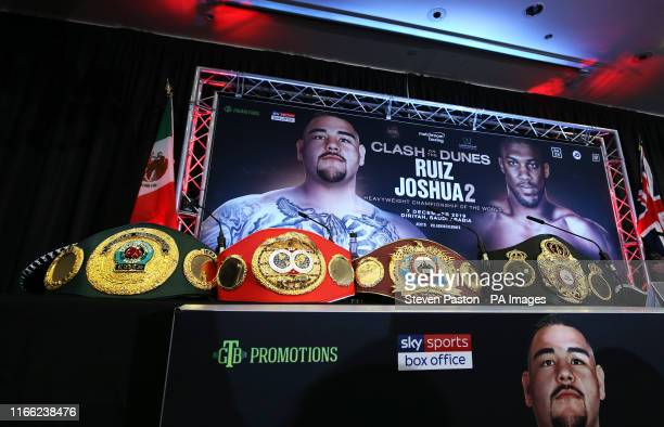 A general view of the belts being contested for during a press conference at The Hilton London Syon Park London