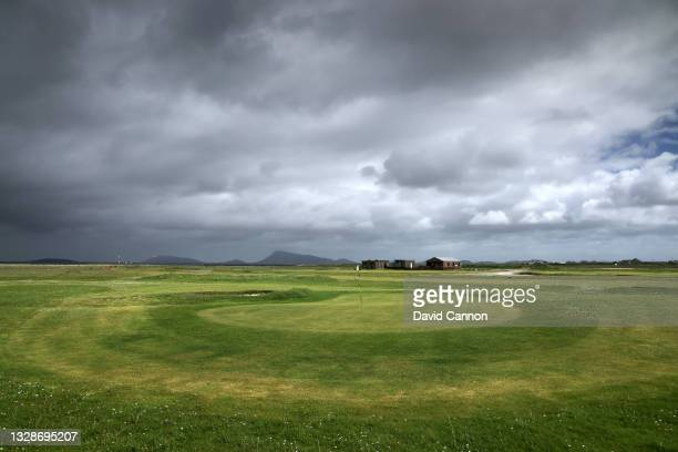General view of the Benbecula Golf Club on the island of North Uist in The Outer Hebrides on June 11, 2021 in Benbecula, Scotland.
