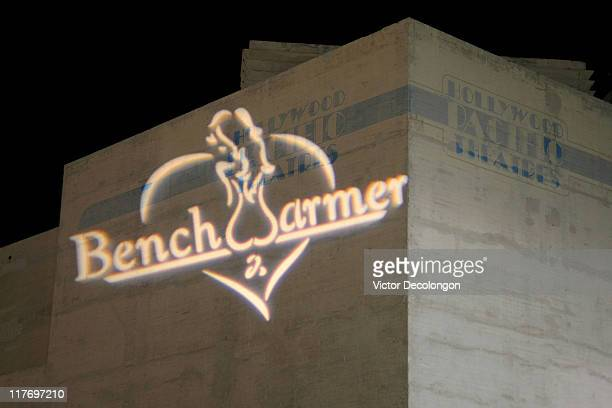 A general view of the Benchwarmer logo projected on the side of the building during arrivals at the 'Benchwarmer Stars and Stripes Celebration...