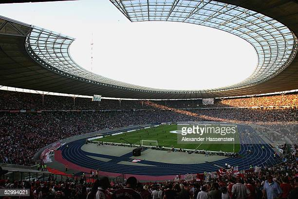 A general view of the Berlin Olympic Stadium during the German Football Federations Cup Final between FC Schalke 04 and Bayern Munich on May 28 2005...