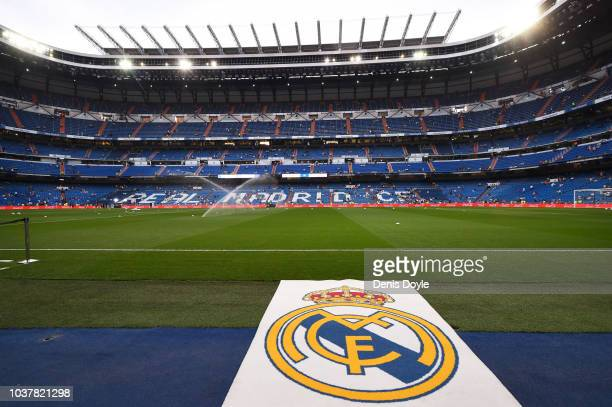 A general view of the Bernabeu stadium before the La Liga match between Real Madrid CF