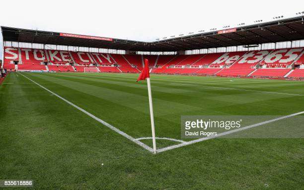 A general view of the Bet365 Stadium during the Premier League match between Stoke City and Arsenal at Bet365 Stadium on August 19 2017 in Stoke on...