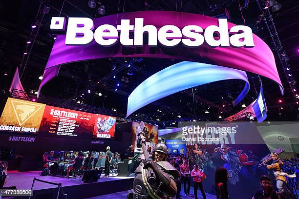 General view of the Bethesda booth during E3 Electronic Entertainment Expo at Los Angeles Convention Center on June 16, 2015 in Los Angeles,...