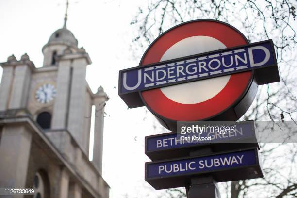 A general view of the Bethnal Green underground station sign on February 22 2019 in London England Bethnall Green in East London was the former home...