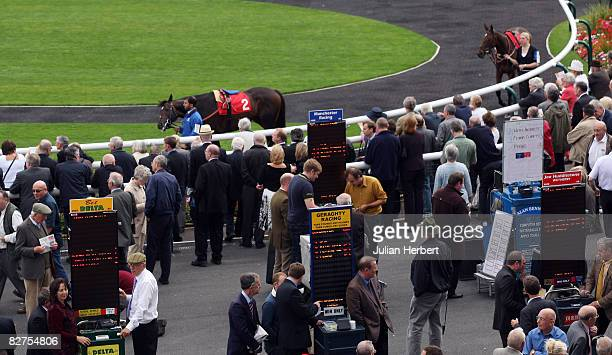 A general view of the Betting Ring at Doncaster Racecourse on September 10 in Doncaster England