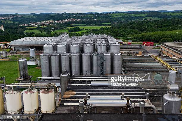General view of the Beverage Company of the Americas plant in Jaguariuna some 125 km of Sao Paulo on March 21 2013 AMBEV in partnership with The...