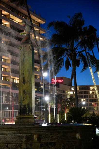 CA: General Views Of The Beverly Hilton Hotel During 2021 Golden Globe Awards Weekend