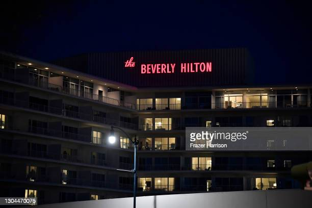 General View Of The Beverly Hilton Hotel from Wilshire Blvd during 2021 Golden Globe Awards Weekend on February 27, 2021 in Beverly Hills, California.