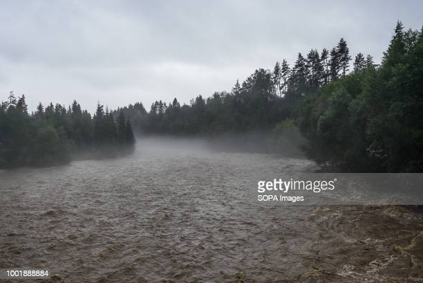 A general view of the Biaka river with high water level at Trybsz Southern Poland and northern Slovakia on flood alert due to extreme rain falls