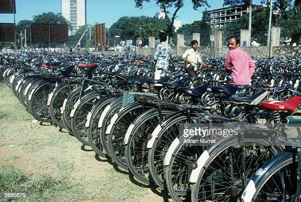 A general view of the bicycle park taken before the second test match between India and England held on December 9 1981 at the Karnataka State CA...