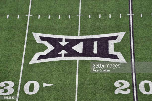 General view of the Big 12 logo on the field at Bill Snyder Family Football Stadium prior to a game between the Kansas State Wildcats and West...