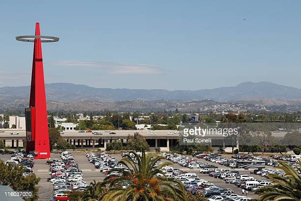 General view of the Big A stadium parking lot palm trees and the freeway in the background during the Los Angeles Angels of Anaheim game against the...