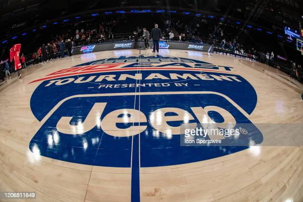 General view of the Big East Conference logo during the first half of the Big East tournament quarterfinal round game between the St. Johns Red Storm...