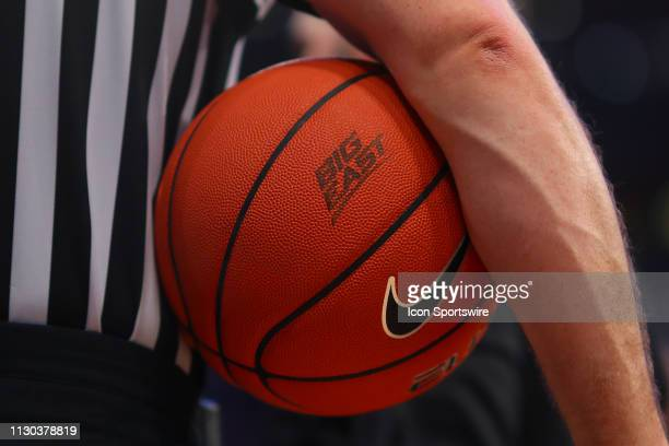 A general view of the Big East logo on the Nike game ball during the second half of the Big East Tournament First Round College Basketball game...