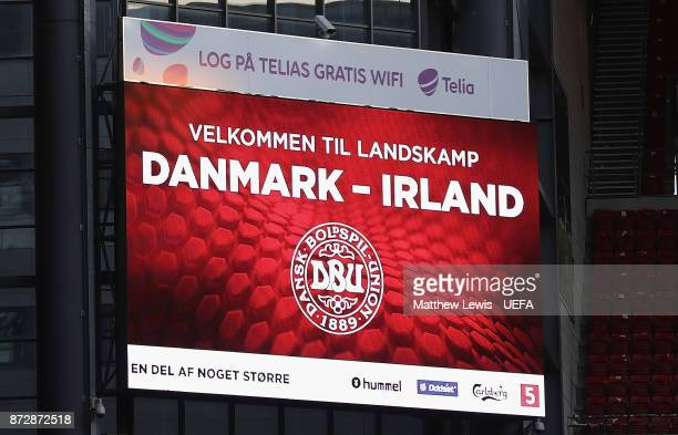 A general view of the big screen ahead of the FIFA 2018 World Cup Qualifier PlayOff First Leg between Denmark and Republic of Ireland at Telia Parken...