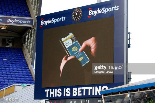A general view of the big screen displaying a short film in support of the Heads Up Campaign prior to the FA Cup Third Round match between Birmingham...