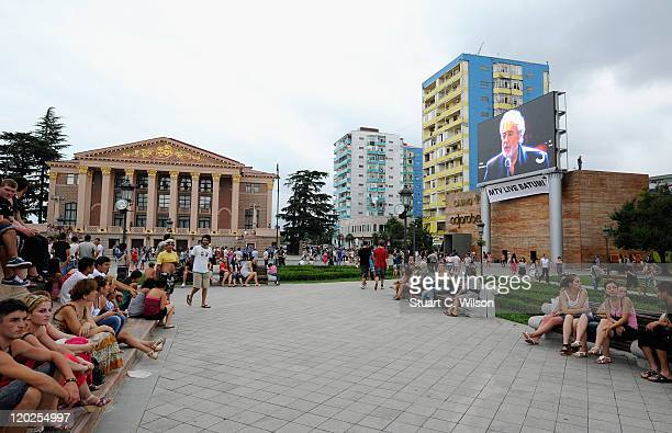 A general view of the big screen in Theatre Square ahead of the MTV Live Georgia at Europe Square on August 2 2011 in Batumi Georgia