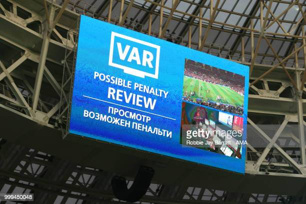 General View of the big screen showing a VAR penalty review prior to Antoine Griezmann of France scoring a penalty to make it 21 during the 2018 FIFA...
