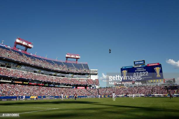 General View of the big screen showing the match attendance during the 2017 CONCACAF Gold Cup Group B match between the United States and Panama at...