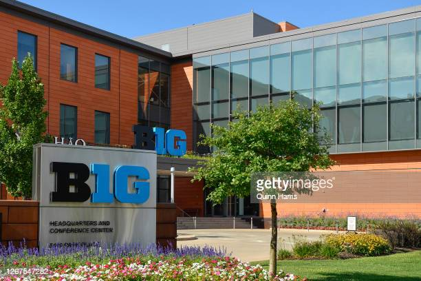 General view of the Big Ten Conference headquarters on August 21, 2020 in Rosemont, Illinois. The Big Ten conference made the decision to delay the...
