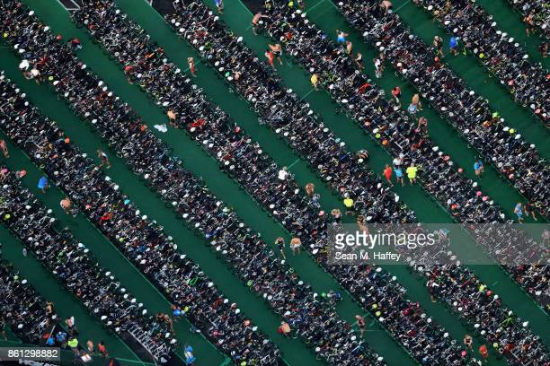 A general view of the bike staging area before the start of the IRONMAN World Championship on October 14 2017 in Kailua Kona Hawaii