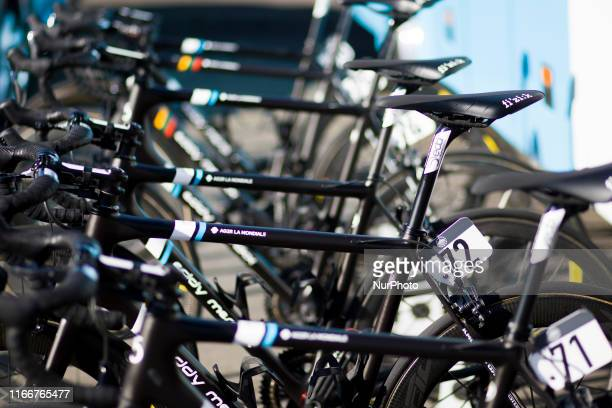 General view of the bikes ahead of Stage 2 of the 16th OVO Energy Tour of Britain, the stage lasts for 165.9km with an elevation of 1380 metres and...