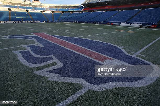 A general view of the Bills logo decal on the turf at midfield before the Buffalo Bills NFL game against the Houston Texans at Ralph Wilson Stadium...
