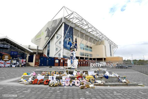 A general view of the Billy Bremner statue with tributes to former footballers Trevor Cherry and Norman Hunter outside the Leeds United stadium...