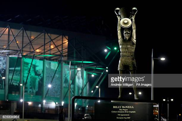 A general view of the Billy McNeill statue during the UEFA Champions League match at Celtic Park Glasgow