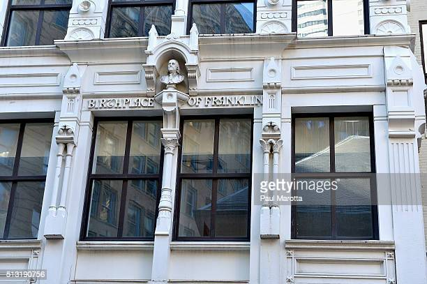 A general view of the birthplace of Benjamin Franklin on Milk Street on March 1 2016 in Boston Massachusetts The original house was destroyed by fire...