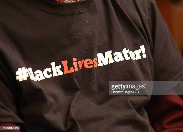 A general view of the #BlackLivesMatter tshirt worn by the student who attend theNBAPA AllStar Youth Summit Real Talk February 13 2015 in New York...