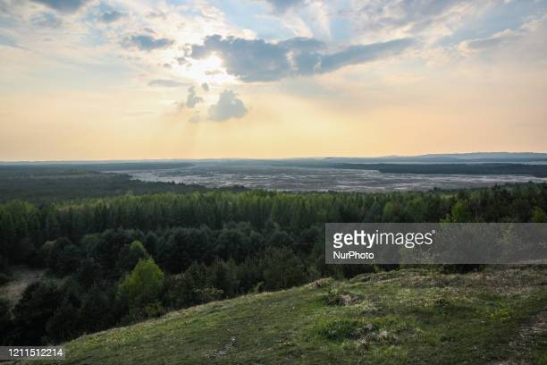 General view of the Bledow Desert from the Czubatka viewpoint hill is seen near Klucze, Poland , on 30 April 2020 Bledowska Sands is Central Europe's...
