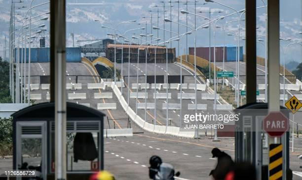 General view of the blocked Tienditas bridge in Urena Tachira state Venezuela on the border with Colombia on February 21 2019 Venezuelan opposition...