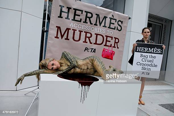 A general view of the bloody PETA reptile protest at Hermes Boutique on July 1 2015 in Beverly Hills California