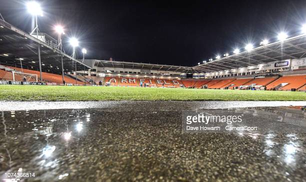 A general view of the Bloomfield Road home of Blackpool during the FA Cup Second Round Replay match between Blackpool and Solihull Moors at...
