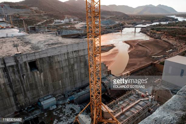 A general view of the Blue Nile river as it passes through the Grand Ethiopian Renaissance Dam near Guba in Ethiopia on December 26 2019 The Grand...