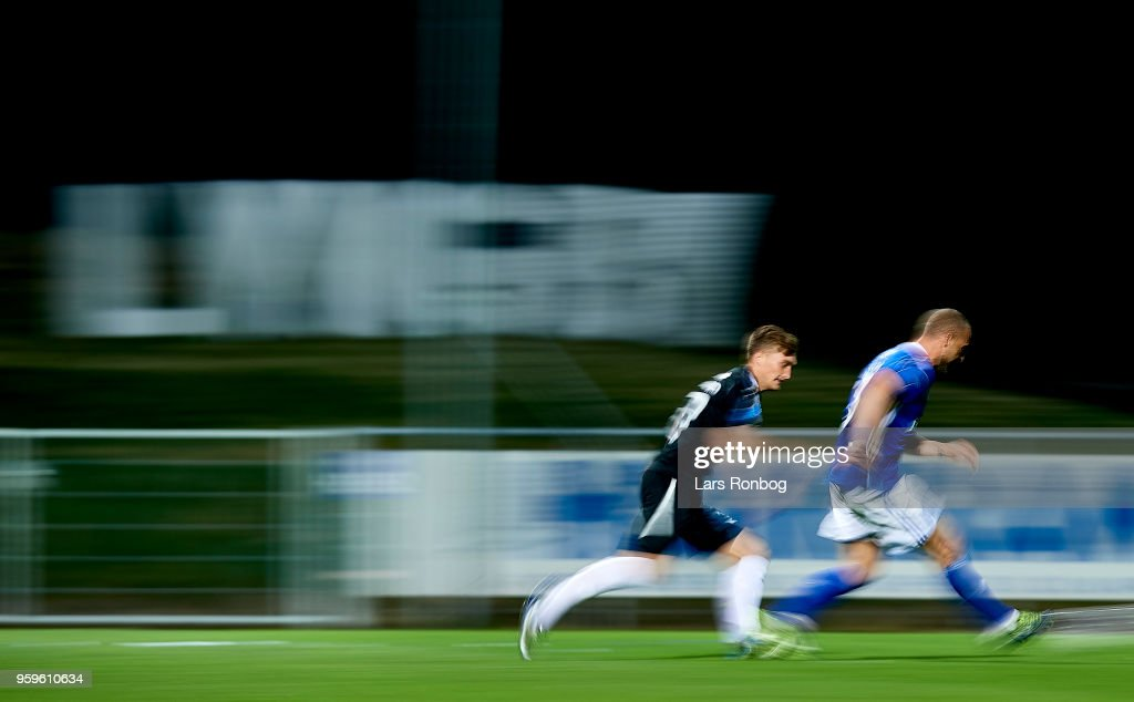 General view of the blurry action during the Danish Alka Superliga match between Lyngby BK and Randers FC at Lyngby Stadion on May 17, 2018 in Lyngby, Denmark.